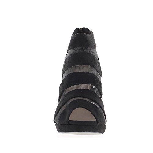 Low-boots femme noirs ouverts à talon de 10,5cm et plateau aspect daim