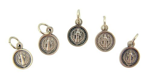 Lot of 5 Saint St Benedict Medal 1/2 Inch Silver Tone Evil Protection Charm