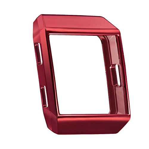 (bayite Tup Case Compatible Fitbit Ionic, Rugged Protector Cover Protective Frame Shock Resistant Shell, Red)