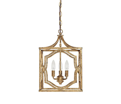 Capital Lighting 9481AG Blakely 3-Light Foyer Fixture, Antique Gold ()