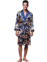 BHoming(TM) Mens Silk Satin Robe, Lightweight Kimono Robe Bathrobe Loungewear
