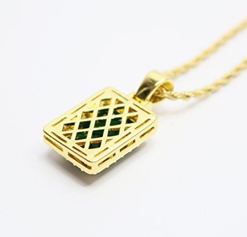 Mini Square Emerald Green Pendant Piece and Chain Necklace