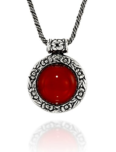 Antique Style Carnelian Pendant Round Floral Design 925 Sterling Silver Gemstone Necklace, 20