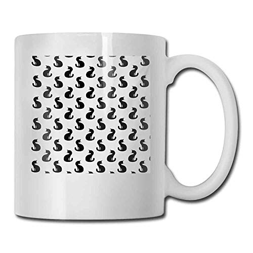 Coffee Cup Cat Silhouette of a Kitten Monochrome Feline Pattern House Pet Illustration Halloween for Office and Home 11 oz Black White -