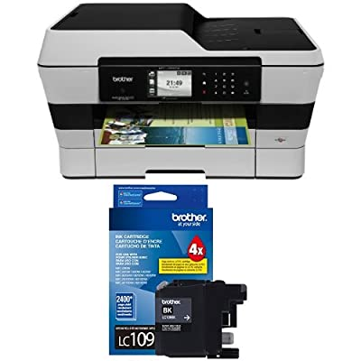 Brother MFCJ6920DW Wireless Multifunction Inkjet Printer with Scanner, Copier and Fax, Amazon Dash Replenishment Enabled and Brother Printer Ultra High Yield Inkjet Cartridge - Black (LC109BK) Bundle