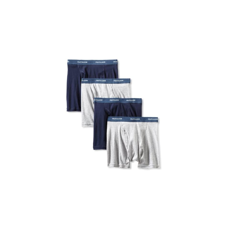 Fruit of the Loom Mens  Low Rise Boxer Brief, Blue/Grey, Large(Pack of 4)