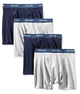 Fruit of the Loom Men's  Low Rise Boxer Brief, Blue/Grey, Small(Pack of 4)