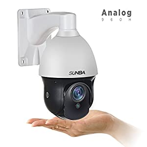 SUNBA 3X Optical Zoom, 960H Mini Analog PTZ Camera, 98ft Night Vision Pelco D Outdoor Security Camera with RS485 Interface (301-3X)