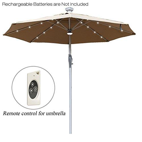 Mefo garden Aluminum 10 Ft Patio Umbrella Deluxe Electric Automatic Outdoor Umbrella Crank Handle & 32 Rechargable LED Lights & Central LED Hub Light, Tan Review