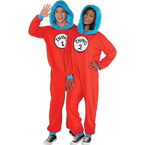 Costumes USA Dr. Seuss Thing 1 & Thing 2 One Piece Halloween Costume for Adults, Small/Medium