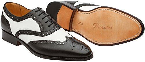 3dm Lifestyle Handgemaakte Heren Echt Leder Klassieke Brogue Oxford Wing-tip Lace Up Leder Bekleed Geperforeerde Jurk Oxford Schoenen Zwart / Wit