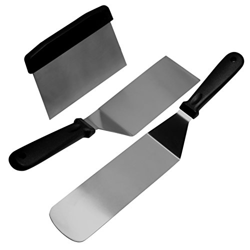BonBon 3-Piece Professional Quality Stainless Steel Flat-Top Spatula and Scraper Set - Perfect Hanburger Turner, Pancake Flipper, BBQ, 3-Piece Kitchen Set (2 Spatulas, and 1 Scraper) (Black Handle)
