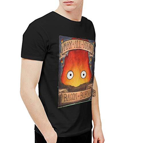 Shenxiao Men's Howl's Moving Castle Soft Short Sleeve T Shirt Black 3XL (Castle Howls Moving Tshirt)