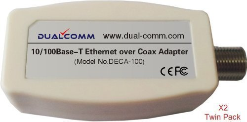 Dualcomm Ethernet Over Coax (EoC) Adapters (DECA-100) - Twin Pack