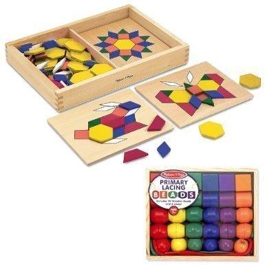 Melissa & Doug Pattern Blocks and Boards Plus Primary Lacing Beads Bundle ()
