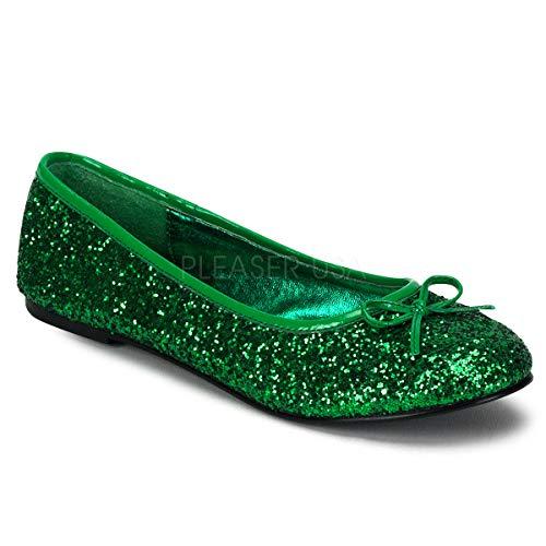 Funtasma by Pleaser Women's Star-16G Flat,Green Glitter,7 M