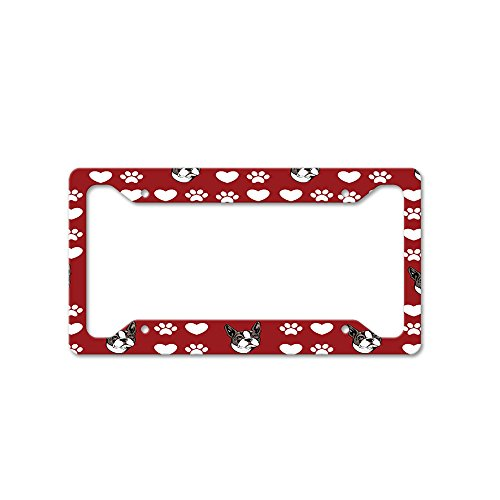 Style In Print Boston Terrier Dog Red Paw Heart Auto Car License Plate Frame Tag Holder 4 Hole