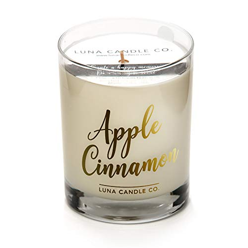 LUNA CANDLE CO. Apple Cinnamon Soy Jar Candle, 11oz. Clear Glass, Up to 110 Hours of Burn Time, Single Wick, Fall Scent, Aromatic Baked Green Apple, Handcrafted in The ()