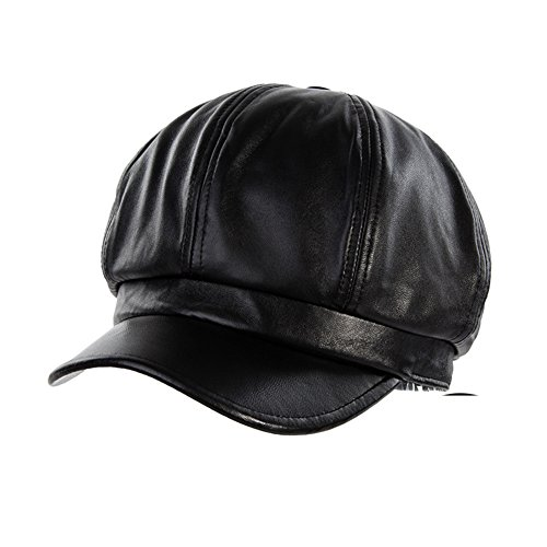 Fall/winter weather quality Sheepskin fashion fan little beret/Octagonal hat/Painters Cap-Black One Size