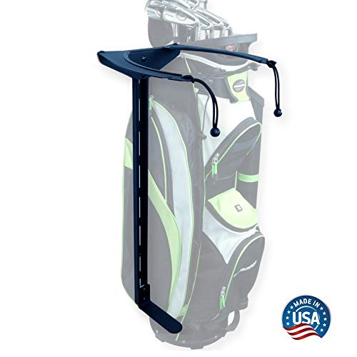 Koova Golf Bag Storage Rack- Wall Mount Garage Organizer for Golf Clubs - Fits Any Size Cart or Stand Bag - Easy to Install and Use - Gets Your Clubs Off The Floor - Made in USA