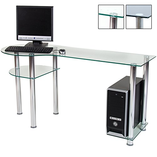 STILISTA® Glas Computertisch, Varianten: Klarglas / Schwarzglas, 145cm (L) x 60cm (B) x 72cm (H), Aluminium Tubes, 8 mm Sicherheitsglas