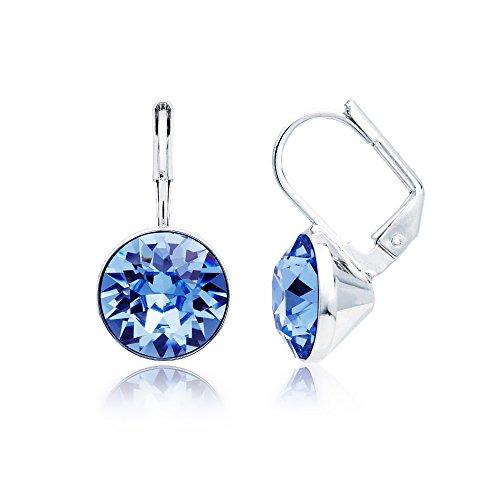 MYJS Bella Rhodium Plated Mini Drop Earrings with Light Sapphire Blue Swarovski Crystals