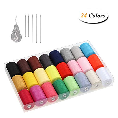 HAITRAL Sewing Threads Set - 24 Color Cotton Threads, 1000 Yards Spools Thread for Sewing Machine, DIY Sewing