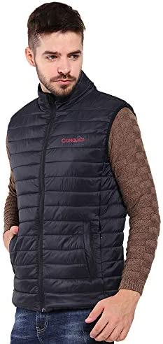 CONQUECO Men's Heated Vest Lightweight Heated and Water Resistant Vest with Battery Pack for Outdoors