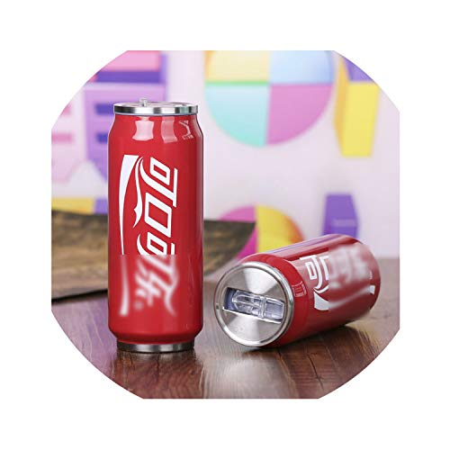 Love-pink 500Ml Creative Stainless Steel Beverage Cans Outdoor Travel Cup Bottle Mug Thermos Water Portable Straw Cup,14