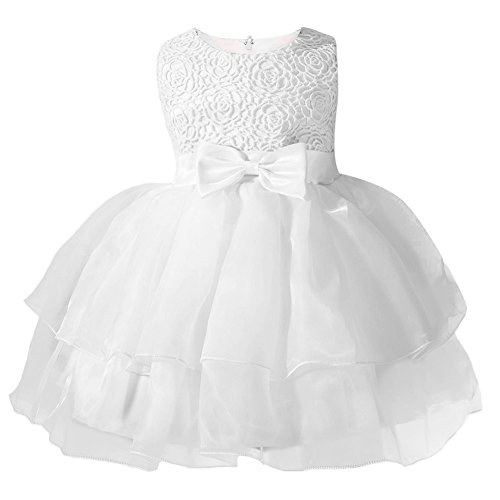 OBEEII Baby Toddler Girl Lace Flower Tutu Dress Sleeveless Pageant Party First Communion Wedding Princess Short Evening Gown White 2-3 Years -