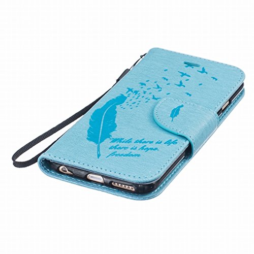Yiizy Apple Iphone 6s Plus Hülle, Feather Prägung Entwurf PU Ledertasche Klappe Beutel Tasche Leder Haut Schale Skin Schutzhülle Cover Case Stehen Kartenhalter Stil Bumper Schutz (Blauen)