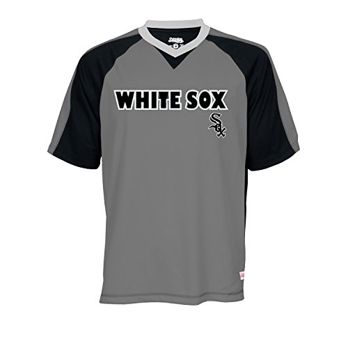 MLB Chicago White Sox Men's V-Neck Charcoal Heather Top, Charcoal Heather, X-Large - Chicago White Sox Heather