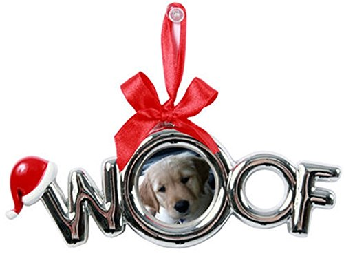 DEI Picture Frame Christmas Ornament with Santa Hat and Red Ribbon Bow (WOOF) -