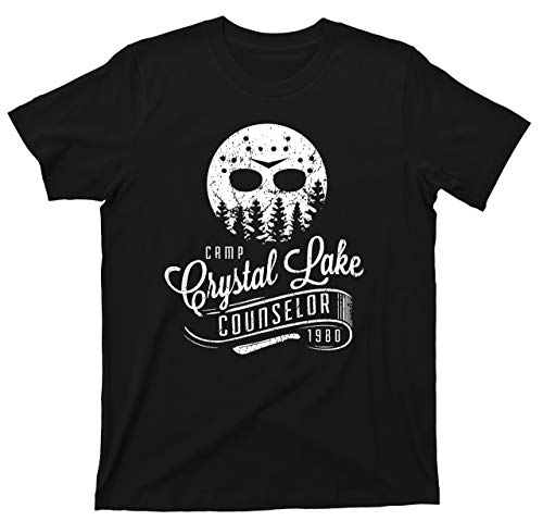 Camp Crystal Lake Counselor T Shirt Jason Voorhees Camping Slasher Horror Movie Tee (2XL, Black) (Best Counselor Friday The 13th Game)