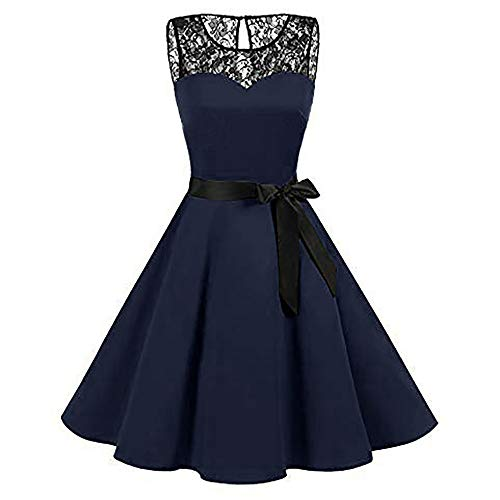 Mysky Women Vintage Lace Hepburn Swing High-Waist Pleated Dress Ladies Retro Bowknot Mini Chiffon Dress Skirt Navy