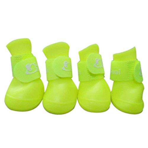 4pcs Pet Boots Socks Medium Dog Waterproof Rain Shoes Non-slip Rubber Puppy (Black) (M) - 2