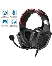 Dreamerd Gaming Headset für PS4, PC, Xbox One Controller, Laptop Mac, Nintendo Switch, professionelle Kopfhörer Komfort Geräuschunterdrückung mit Mikrofon Schwarz