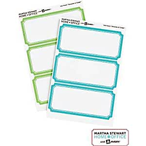 Martha Stewart Home OfficeTM with AveryTM Removable Labels, Blue/green Borders, Classic, 18/pack