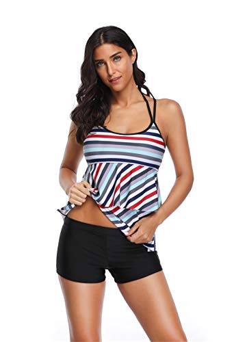 WODECASA Womens Striped Swimsuit Halter Layered Tankini Top and Boyshorts Bathing Suits ()