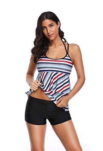 WODECASA Womens Striped Swimsuit Halter Layered Tankini Top and Boyshorts Bathing Suits