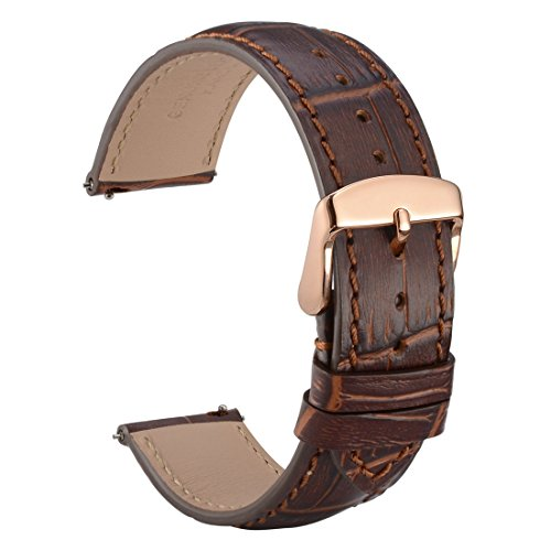 WOCCI 20mm Watch Band Quick Release - Alligator Embossed Leather Watch Strap Brown Black with Rose Gold Buckle