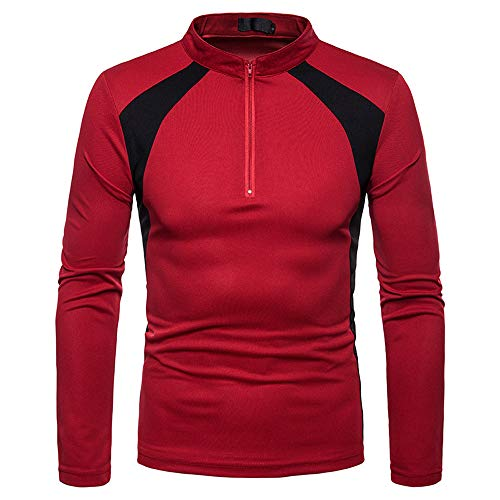 Clearance Mens Casual Slim Fit Splice Zipper Stripe Long Sleeve Shirt Top Blouse (Red, CN L) ()