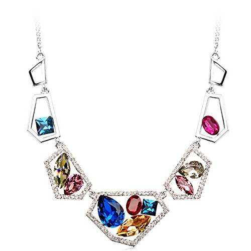 Swarovski Crystals Bib Statement Collar Necklace for Girls Women, Birthday Anniversary Gifts Bacchus Crystal