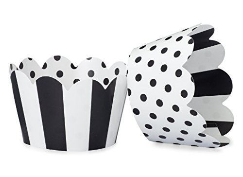 Black and White Cupcake Wrappers for Weddings, Graduations, Kids and Adult Birthday Parties, Baby Showers. Set of 24 Reversible Cup Cake Holder Wraps with Polka Dots and Stripes. Black, White -