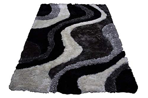 Gray Grey Black Charcoal Off White Shaggy Shag Area Rug 8'x10' Verse Modern Contemporary Design High End Designer Quality Flokati High Pile Soft Plush Living Room Bedroom Signature New 72 Black White