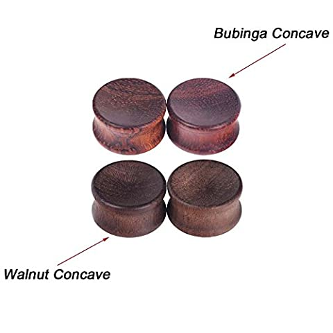 Longbeauty 1Pair Vintage Bubinga Concave Natural Wood Double Flared Solid Ear Plugs Stretcher - Bubinga Body