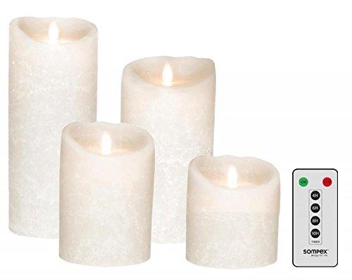 Sompex 4er Set Flame LED Echtwachskerzen weiß Frost 10/12,5/18/23cm mit Fernbedienung