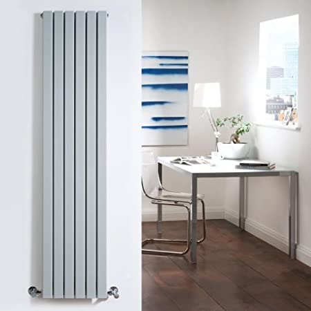 Milano Capri   Silver Flat Vertical Designer Radiator 1600mm X 354mm Double  Panel   Vertical Column