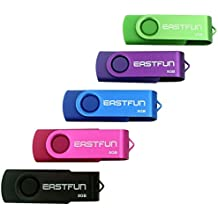 EASTFUN 5Pcs 8GB USB Flash Drive USB 2.0 Flash Memory Stick Fold Storage Thumb Stick Pen(Five Mixed Colors: Black Rose Blue Purple Green)