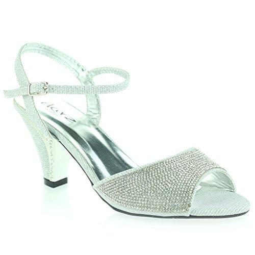 Mujer Señoras Joyado Tacón Del Gatito Diamante De Imitación Noche Fiesta Boda Prom Sandalias Zapatos Talla Plata